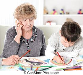 fogalom, fiúunoka, ülés, nagyszülők, modern, asztal, nursery., oktatás, látogató