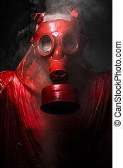 fogalom, gáz, mask., háború, piros, ember