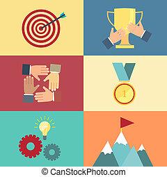 fogalom, gól, vektor, befejezés, siker