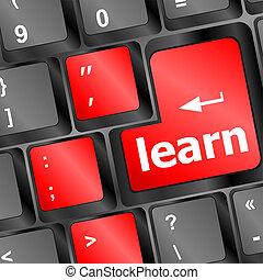 fogalom, gombol, billentyűzet computer, tanul, oktatás