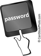 fogalom, gombol, megközelíthetőség, laptop, kulcs, billentyűzet, jelszó