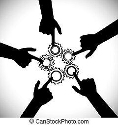 fogalom, &, graphic-, közösség, csapatmunka, egység, vektor,...