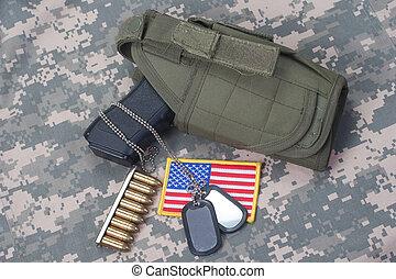 fogalom, hadsereg, álcáz, egyenruha, bennünket, kézifegyver