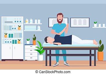 fogalom, hivatal, modern, gyógyász, asztal, fizikai, kórház, bánásmód, belső, sebesült, tele, türelmes, kéz, terápia, gyógyulás, horizontális, ember, kézikönyv, masszázs, hosszúság, fekvő, rehabilitáció, masszázs