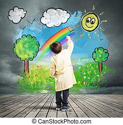 fogalom, hogyan, fordíts, cserél, egy, szürke nap, noha, színezett, nap