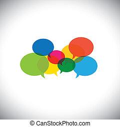 fogalom icons, kommunikáció, -, vektor, beszéd, csevegés,...