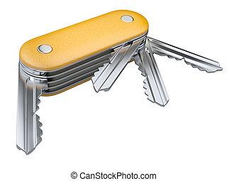 fogalom, kulcsok, set., svájci, biztonság, kés