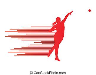 fogalom, lövés, atlétikai, vektor, háttér, dobás