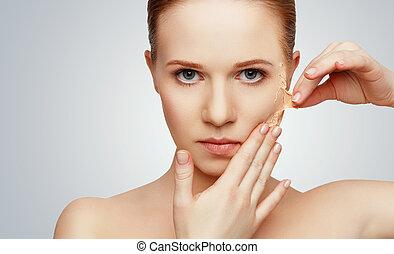 fogalom, meghosszabbítás, szépség, probléma, bőr törődik, megfiatalodás