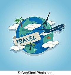 fogalom, mindenfelé, földgolyó, utazás, utazó, repülőgép