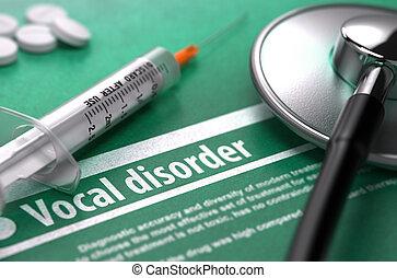 fogalom, orvosi, magánhangzói, háttér., zöld, disorder.