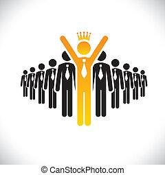 fogalom, siker, -, verseny, vektor, munkavállaló, szívverés, egyesített