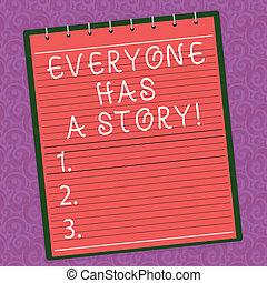 fogalom, storytelling, elpirul fénykép, everyone, story., emlékezőtehetség, tales, spirál, írás, háttér., szöveg, kap, ügy, watermark, notepad, nyomtatott, háttér, sokatmondó, -e, szó, vonalazott, tető