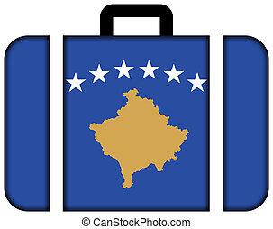 fogalom, szállítás, utazás, lobogó, bőrönd, ikon, kosovo.