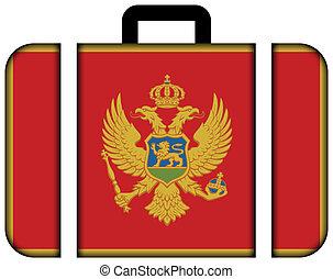 fogalom, szállítás, utazás, montenegro., lobogó, bőrönd, ikon