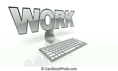 fogalom, számítógép, dolgozó, billentyűzet