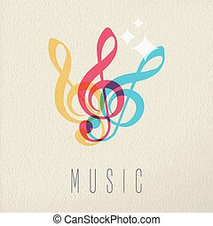 fogalom, szín, jegyzet, tervezés, zene, audio, zenés, ikon