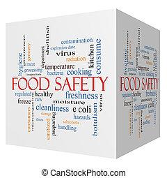 fogalom, szó, élelmiszer, köb, biztonság, felhő, 3