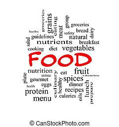 fogalom, szó, élelmiszer, kivezetés, felhő, piros