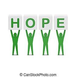 fogalom, szó, illustration., férfiak, birtok, 3, hope.