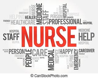 fogalom, szó, kollázs, egészség, háttér, ápoló, felhő