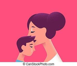 fogalom, szeret, család, anyu, gyermek, csókolózás