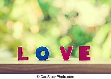 fogalom, szeret, fából való, abc, felett, kedves, bokeh, háttér, t, csillogó asztal