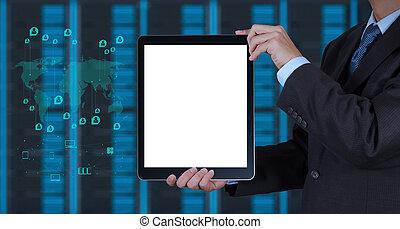 fogalom, szoba, tabletta, kéz, számítógép, háttér, üzletember, használ, ministráns