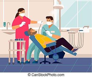 fogalom, türelmes, hivatal, orvos, fogászat, fog, fogász, checkup., vizsga, szék, karikatúra, fekvő, törődik