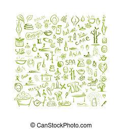 fogalom, tervezés, háttér, ásványvízforrás, -e, masszázs