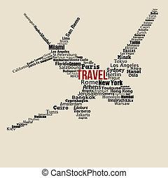 fogalom, utazás, elkészített, szavak, világ, repülőgép