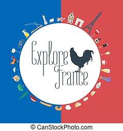 fogalom, utazás, lobogó, ábra, franciaország, befest, francia
