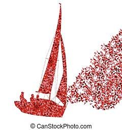 fogalom, vitorlázás jacht, vektor, háttér, hajó, elkészített, szétreped, csónakázik