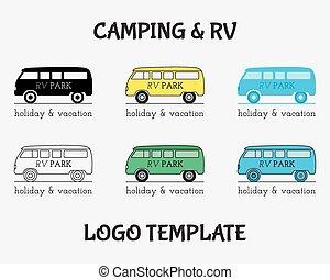 fogalom, vontatott lakókocsi, elnevezés, külső, tervezés, motor, jel, template., jelvény, mód, kempingezés, ikonok, szüret, utazás, logotype, erdő, ünnep, home., retro, rv, liget, vektor, elfoglaltság, set.