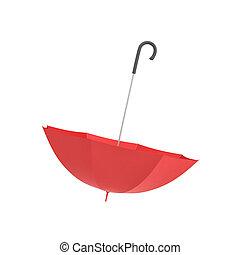 fogantyú, vakolás, elszigetelt, háttér., fekete, görbe, esernyő, fehér, nyílik, piros, 3