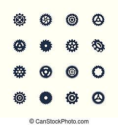 fogaskerék-áttétel, vektor, állhatatos, cog-wheels, ikon