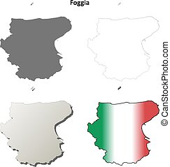 Foggia blank detailed outline map set - Foggia province...