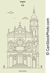 Foggia cathedral, Italy. Landmark icon in linear style