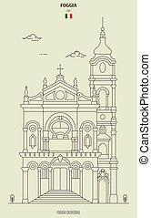 foggia, italy., grenzstein, ikone, kathedrale