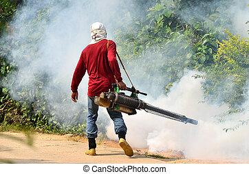 fogging, till förebygg, breda, av, dengue, feber