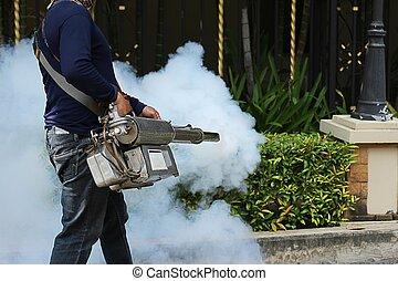 fogging, till förebygg, den, dengue, feber