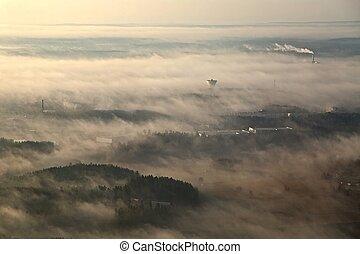 Foggy Aerial Landscape