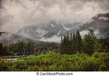 Foggy Alaskan Bridge