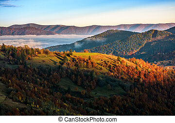 foggy and hot sunrise in Carpathian mountains - cold morning...