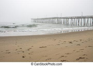 Foggy Beach and Fishing Pier