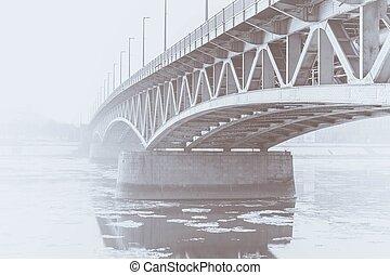Foggy bridge in Hungary at winter