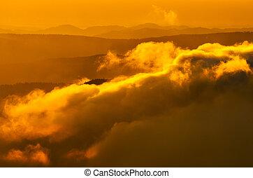 Foggy Carpathian mountains