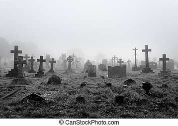 Spooky foggy ancient cemetery halloween background