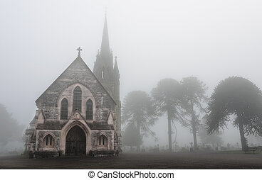 Foggy Cemetery - Old Church in a creepy foggy cemetery