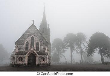 Foggy Cemetery - Old Church in a creepy foggy cemetery